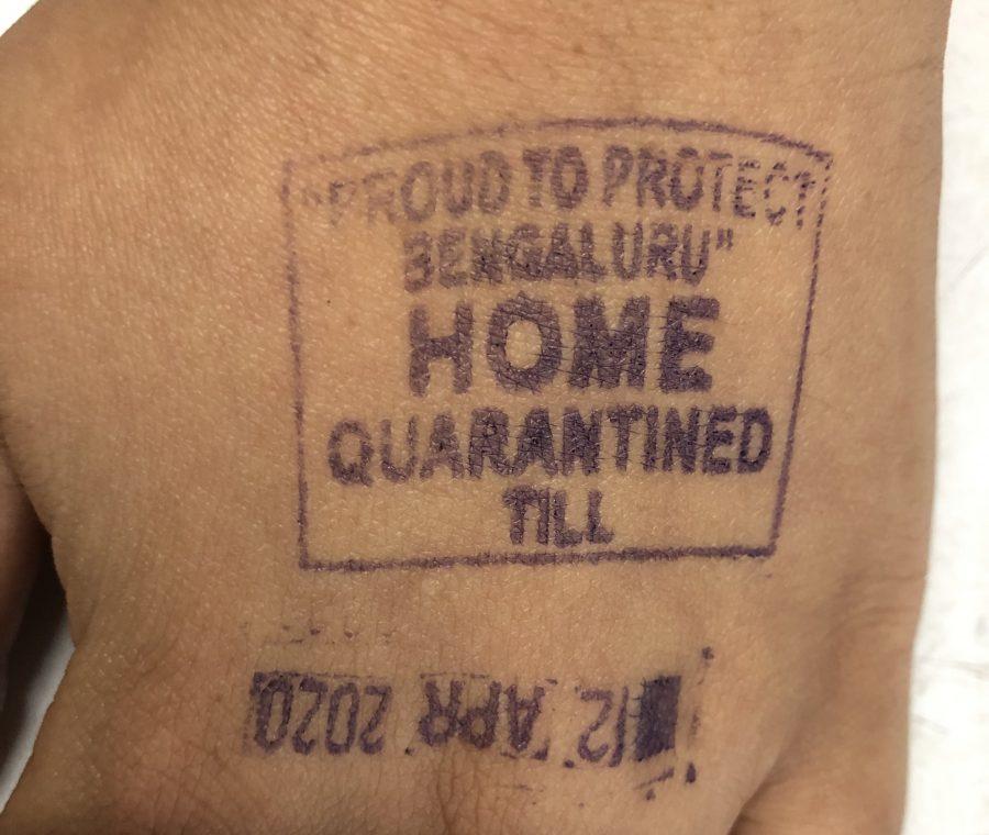 A quarantine stamp in India.